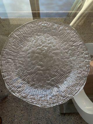 "Plato de cristal transparente ""diamante"""