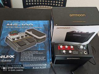 Pedal multiefectos y amplificador de guitarra