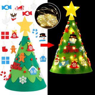 Arbol Navidad fieltro con luces led y adornos 3D.
