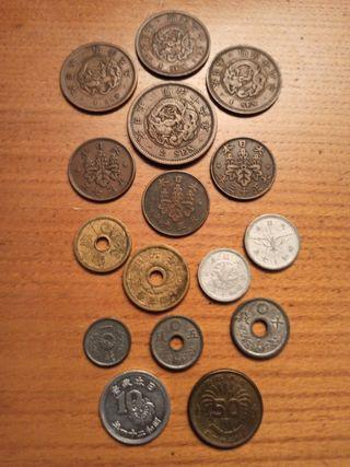 Lote de 16 monedas de Japón 1876-1946