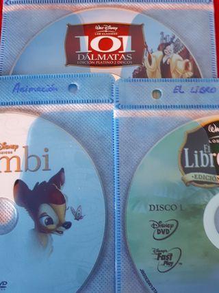 DVD Disney: Bambi, Libro de la Selva, 101 dálmatas