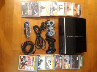 PS3 + 2 mandos + 12 juegos