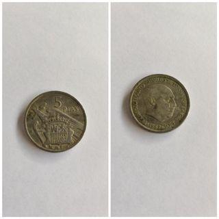 moneda 5 pesetas de Francisco Franco