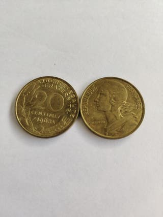 moneda 20 céntimos franceses