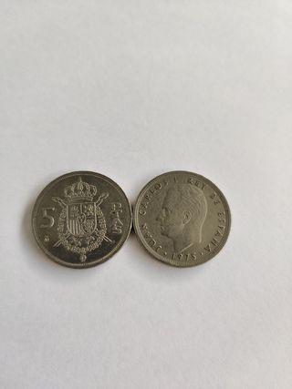 moneda 5 pesetas de españa Juan Carlos 1