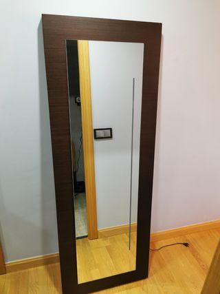 Espejo madera maciza wengué c/luz