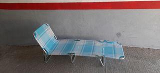 tumbona de playa aluminio reclinable 190 x 58 x 25