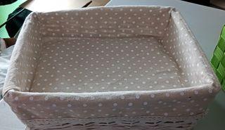 cesta de mimbre con forro