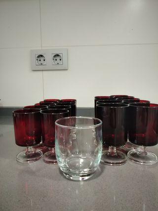 19 copas cristal rojo