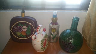 Pintadas a mano, garrafa, botella, sartén y botijo