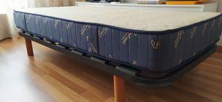 2 somier 90cm + 2 colchón 90cm lana merina