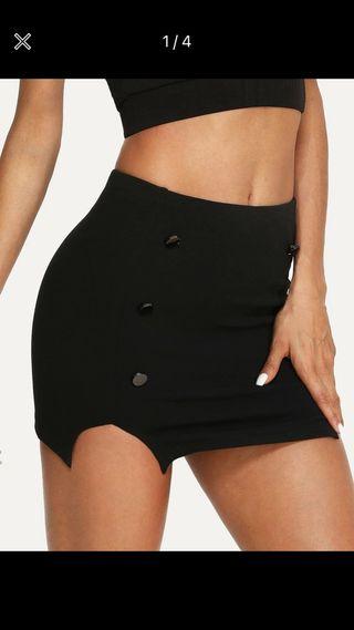 Minifalda negra con botones