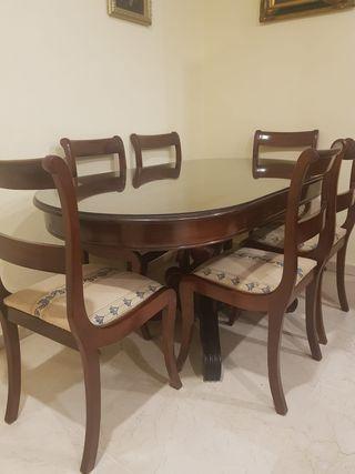 Mesa de Caoba hecha a mano con 6 sillas
