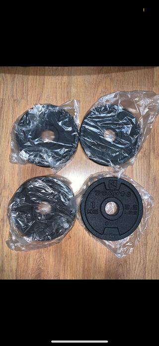 4 discos de 1kg para barras o mancuernas,NUEVOS