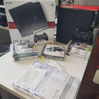 PS3 Slim 120Gb + un mando y 12 juegos