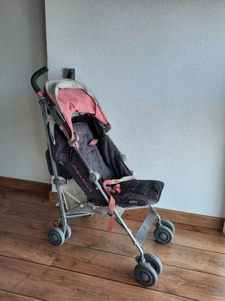 silleta se paseo Maclaren Quest rosa y gris.
