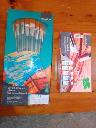 Pinceles Planos y pintura