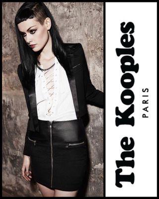 The Kooples T34 Mini Falda negra piel. Cremallera