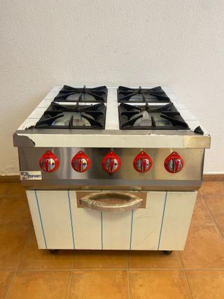 cocina industrial de 4 fuegos con horno
