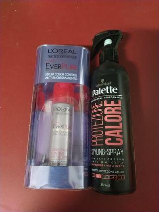 serum de L'Oréal y protector del calor profesional