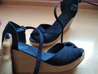 Sandalias azules esparto plataforma azul talla 38