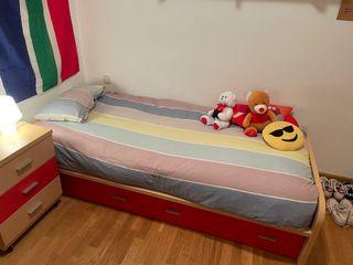 Cama individual 90x200 + colchón + mesita