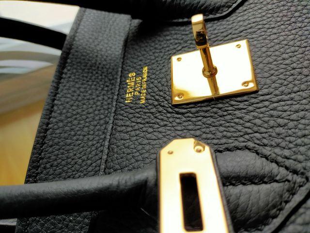 Hermes Birkin 35 % Leather Black Bag