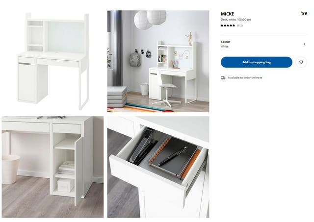 Desk table with shelving unit