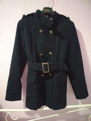 abrigo de paño azul marino Zara