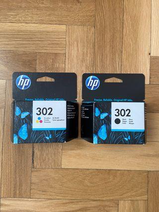 Cartuchos Tinta impresora HP 302 Tricolor + Negro