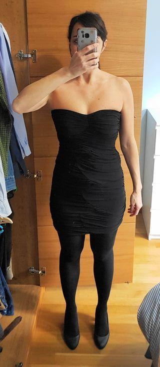 Vestido negro de fiesta palabra de honor talla S