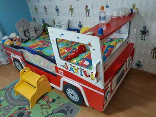 cama de camión de bomberos infantil