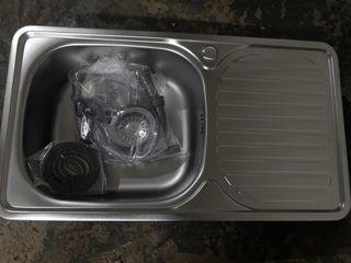 Fregadero de cocina de un seno con escurridor