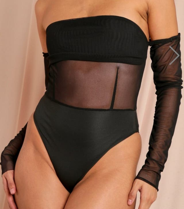 Black Mesh Corset Ruched Sleeve Bodysuit