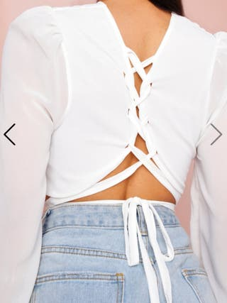 White Lace Up Back Crop Top