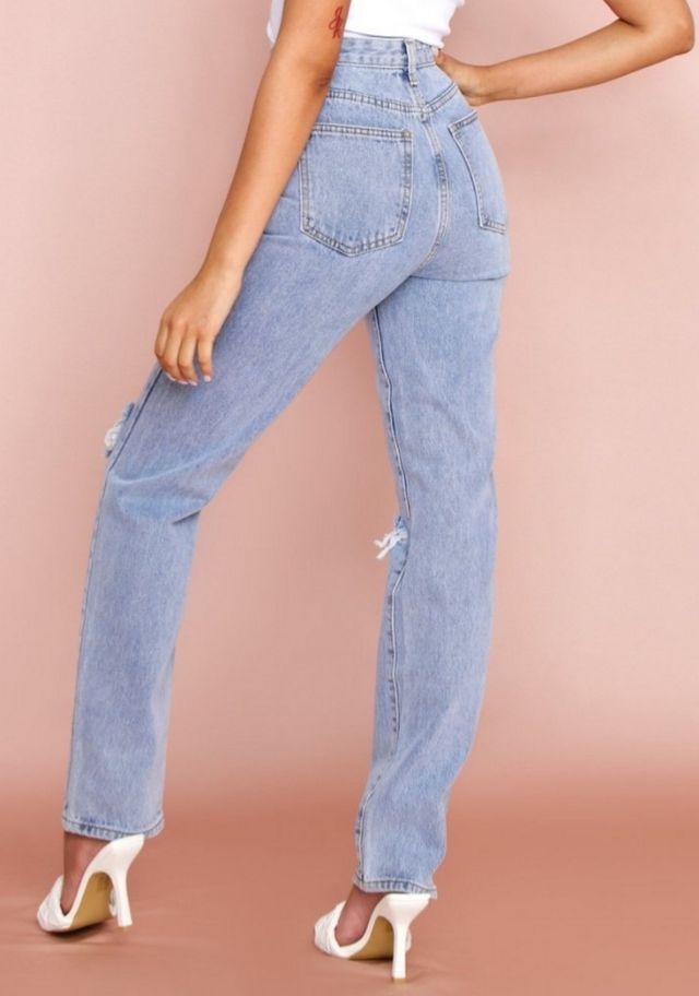 High Waisted Straight Ripped Leg Jean