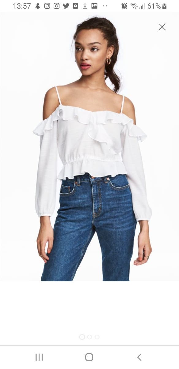 H&M White Cold Shoulder Blouse