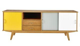 Aparador vintage de madera amarillo_gris_blanco