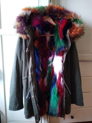 espectacular chaqueta zorro pelo multicolor