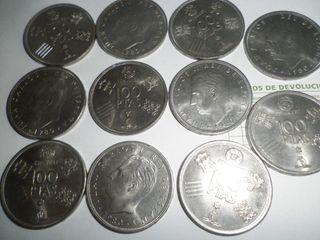 11 MONEDAS DE 100 PTAS PLATA AÑOS 1975 Y 1980