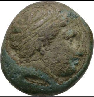 moneda griega de Filipo II bronce Apolo
