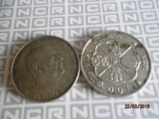 AÑO 1966 TRES MONEDAS 100 PTAS. GRANDES