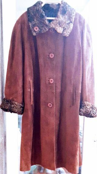 Abrigo vintage piel de ante y astracan