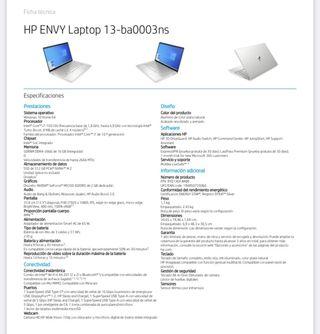 Pc ordenador portátil hp envy laptop 13ba0003ns