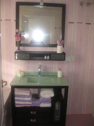 mueble baño completo encimera cristal