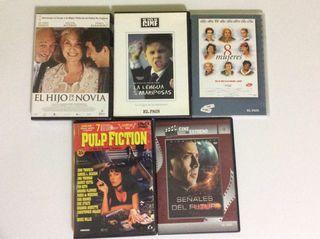 5 DVDs El hijo de la novia / Pulp Fiction / ...
