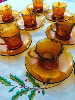 22 piezas cristal ámbar DURALEX tazas y platos