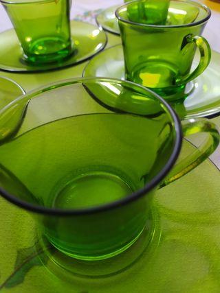 Lote de 10 piezas de cristal verde DURALEX