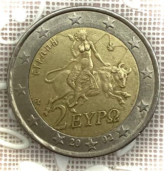 """Moneda de 2€ """"rara"""" Griega. Año 2002."""