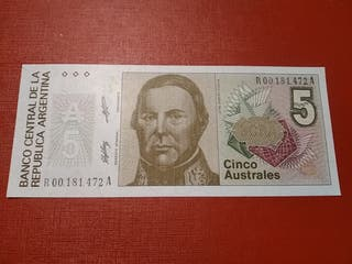 Billete Argentina 5 australes sc